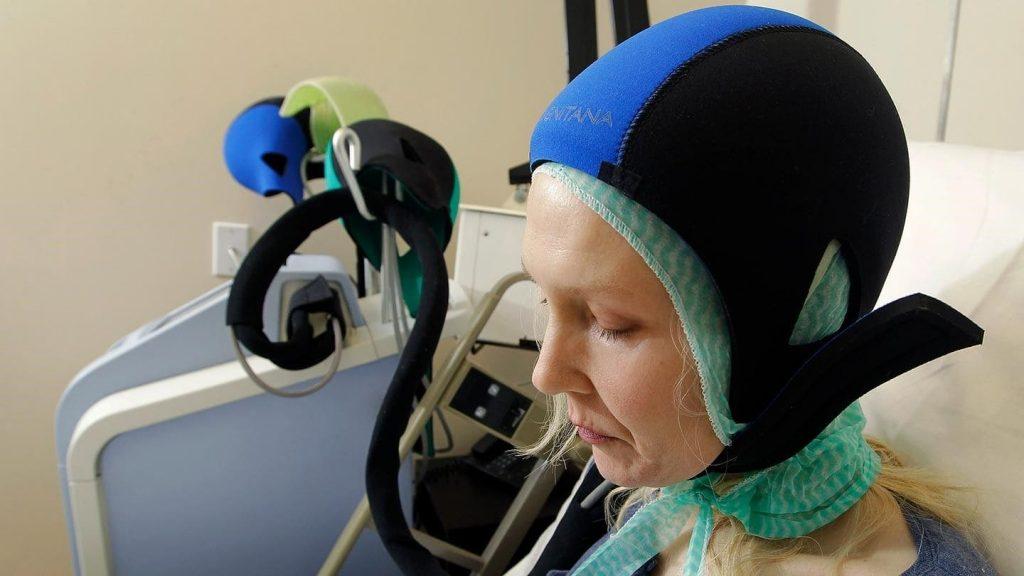 Хіміятэрапія. Ахаладжальны шлем для галавы.