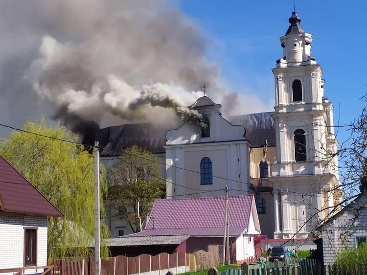 Будслаўскі касцёл. Пажар 11 мая 2021 года.