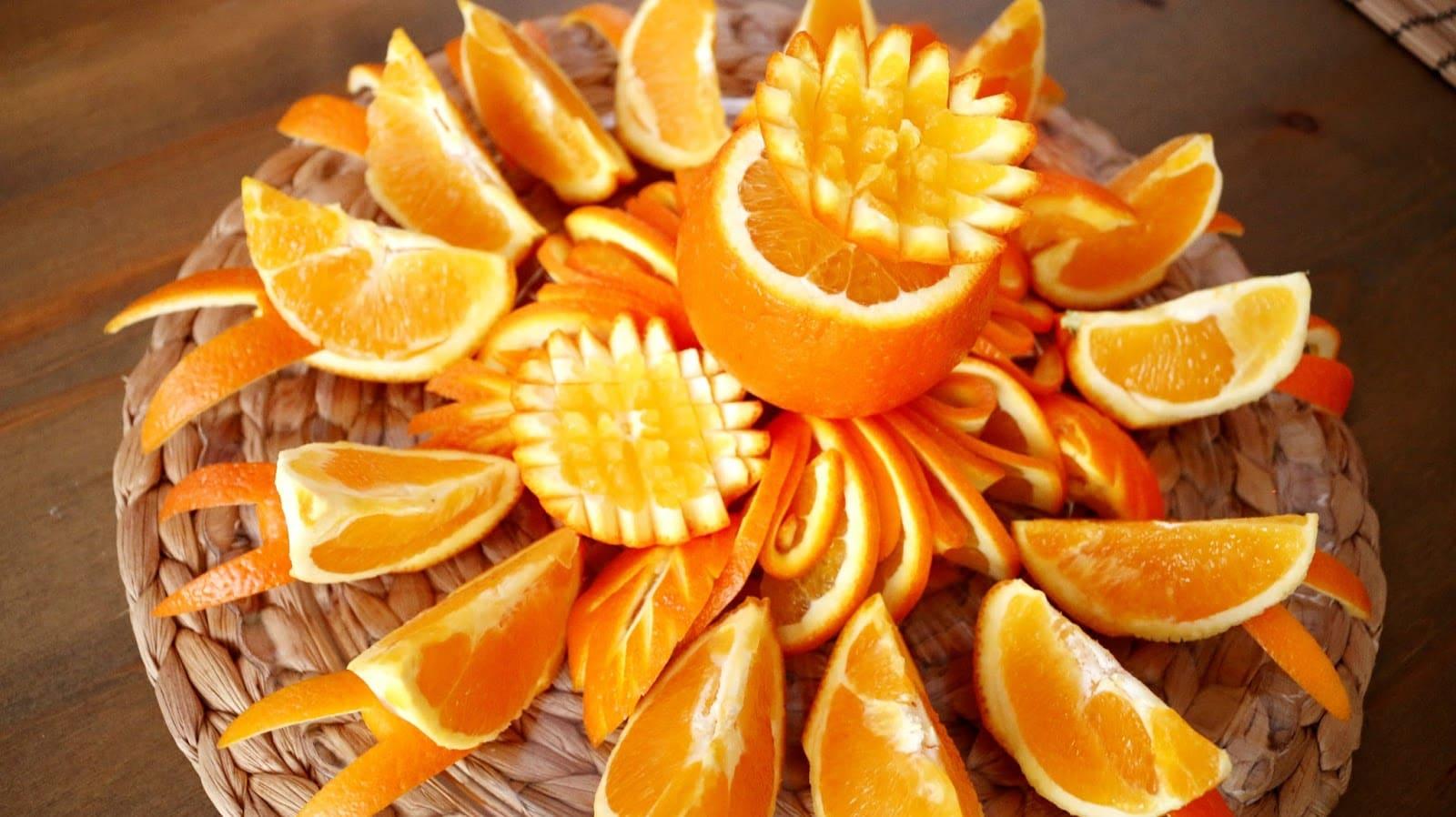 Яблыкі і апельсіны. Фігурная нарэзка апельсінаў.