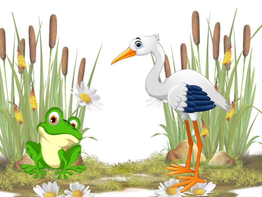 Чаму жабкі буслоў баяцца? (казка)